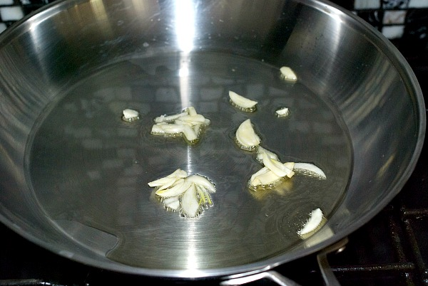 cook garlic in olive oil