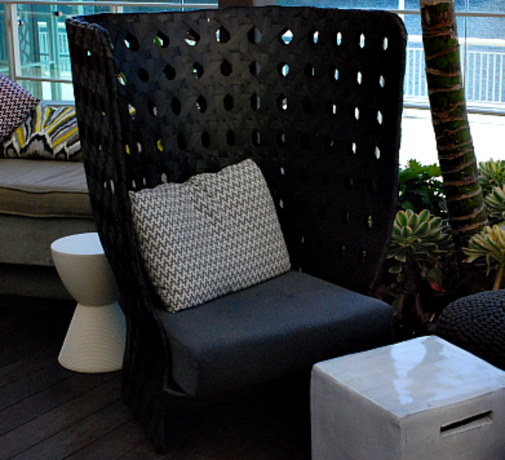 Hilton Bayfront pool lounge black chair