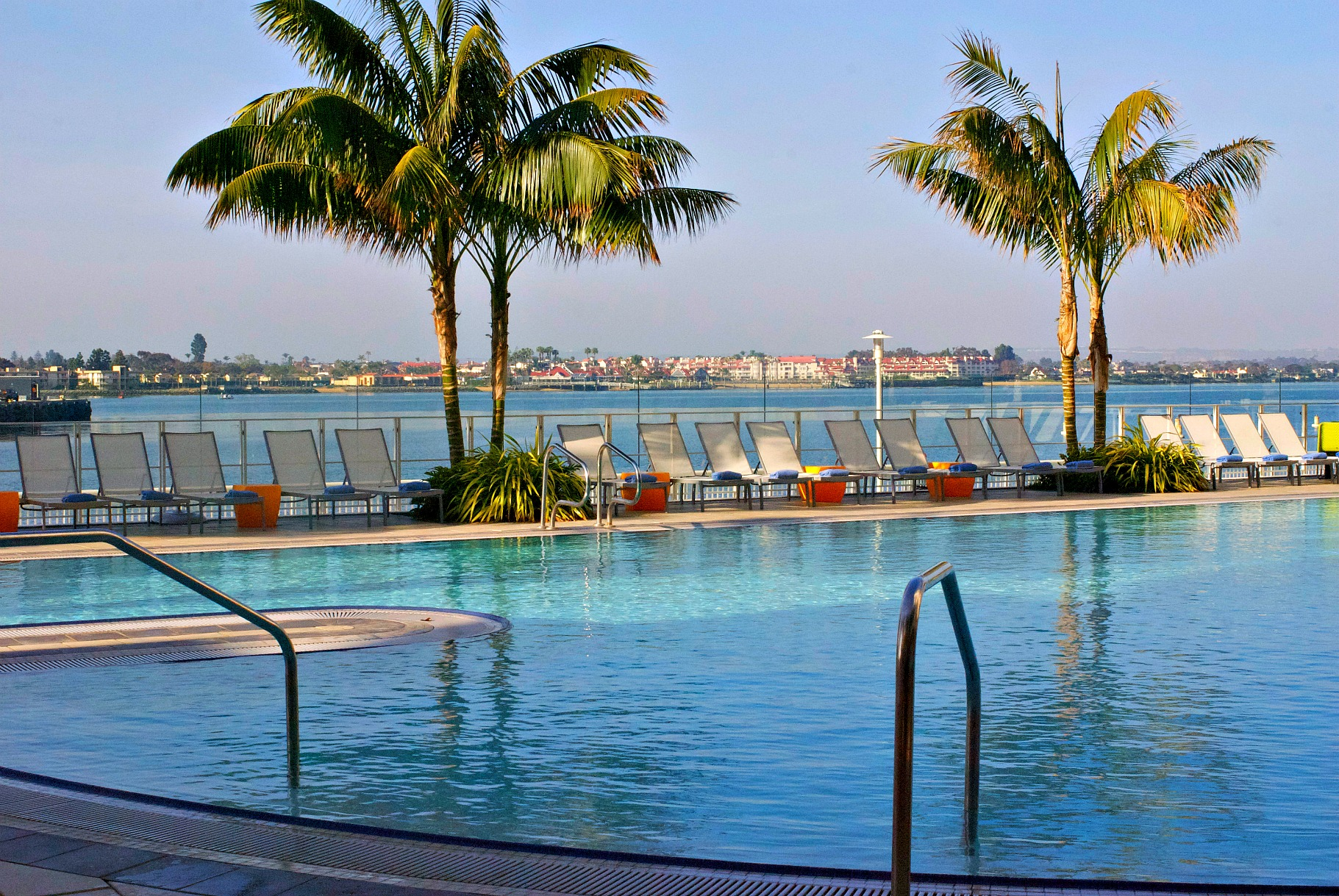 Hilton Bayfront pool with a view of the bay