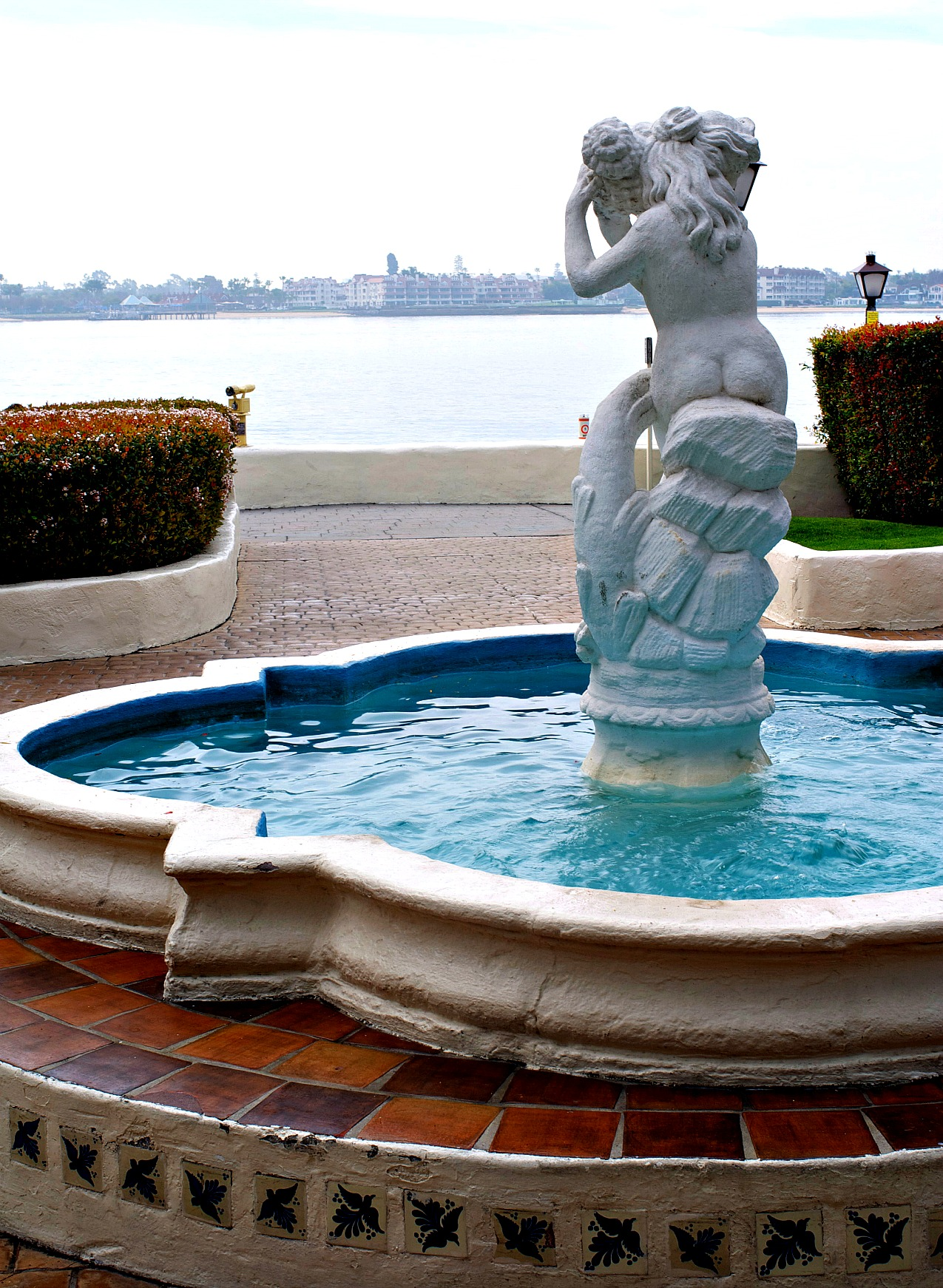 Seaport Village, San Diego. lady with shell fountain