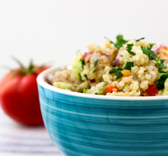 Quinoa Chicken Salad recipe at its all about the yummy