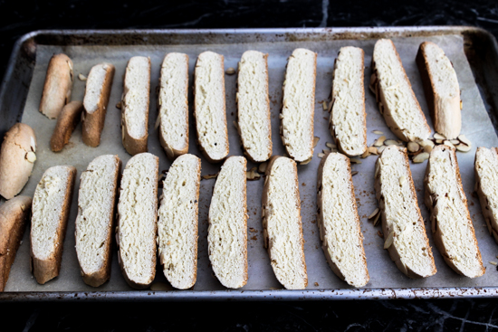 Amaretto Biscotti sliced cookies