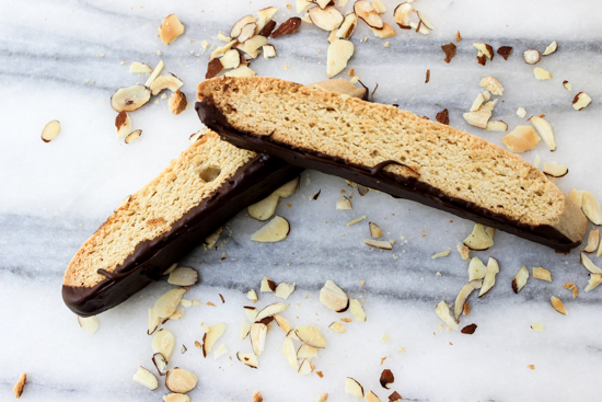 Amaretto Biscotti with chocolate