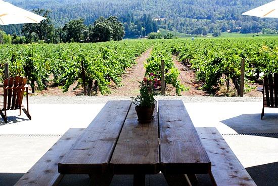 Corison Winery picnic table