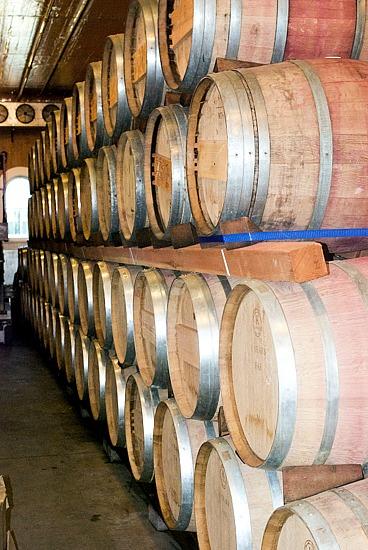 Corison Winery stacked barrels