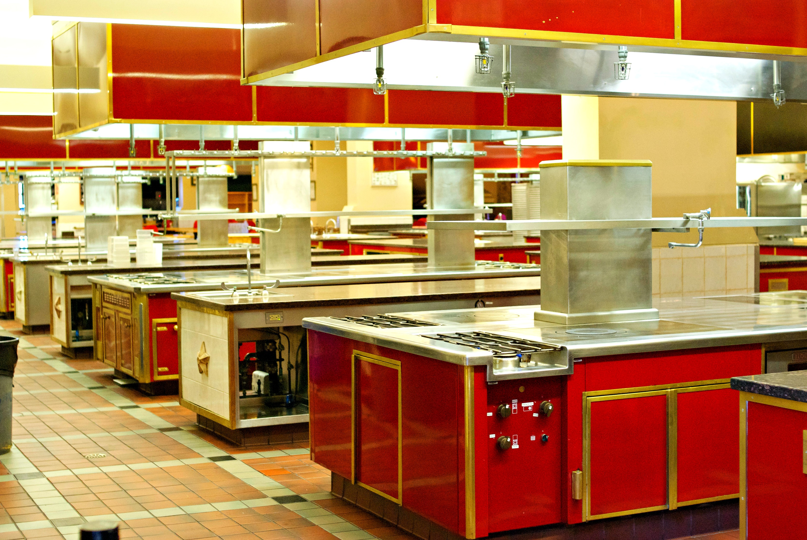 Culinary Institute of America red kitchens