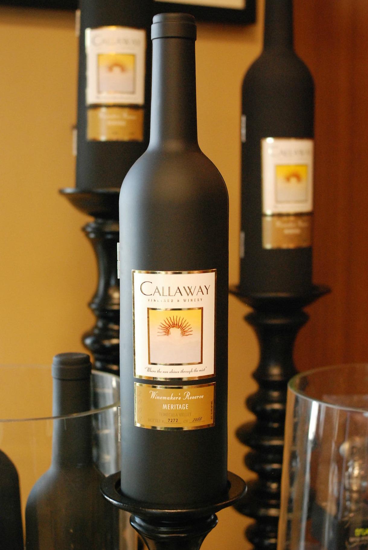 Callaway black bottle wine