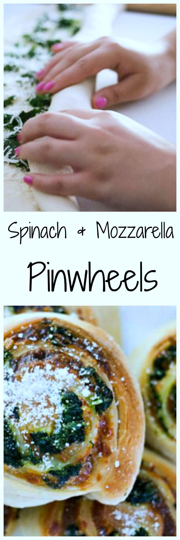 Spinach and mozzarella pinwheels long