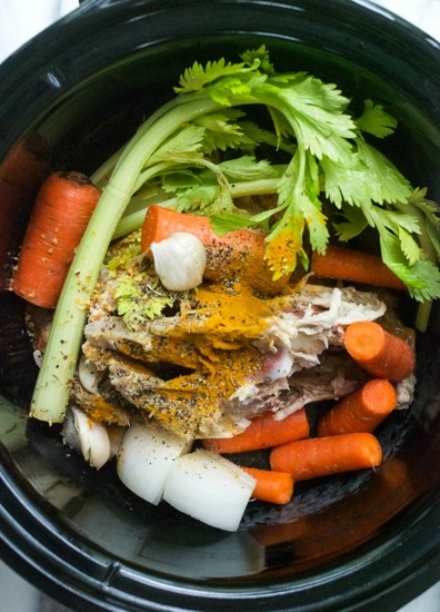 Slow Cooker Roasted Chicken Bone Broth