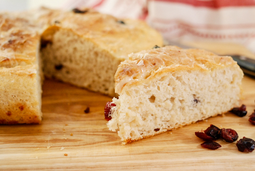 No-Knead Cranberry Cheddar Skillet Bread