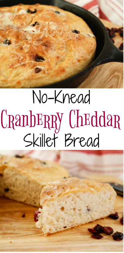 #AD #GreatMidwestCheeses No Knead Cranberry Cheddar Skillet Bread