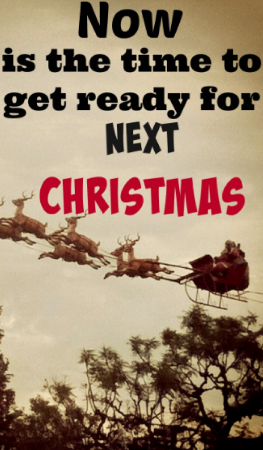 Now is the time to get ready for next Christmas